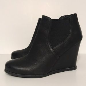 Audrey Brooke Black Leather Wedge Bootie